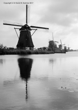 Kinderdijk Windmills 5 in a Row, Rotterdam, Netherlands