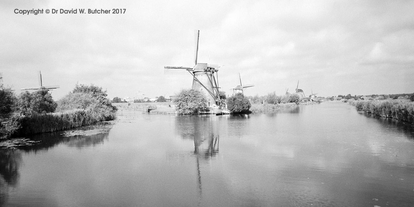 Kinderdijk Windmill Reflections, panoramic, Rotterdam, Netherlands