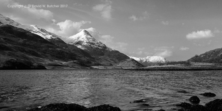 Snow-capped Pap of Glencoe and Loch Leven, Scotland