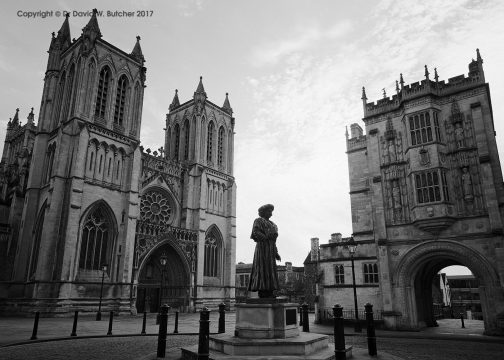 Bristol Cathedral and Statue, England