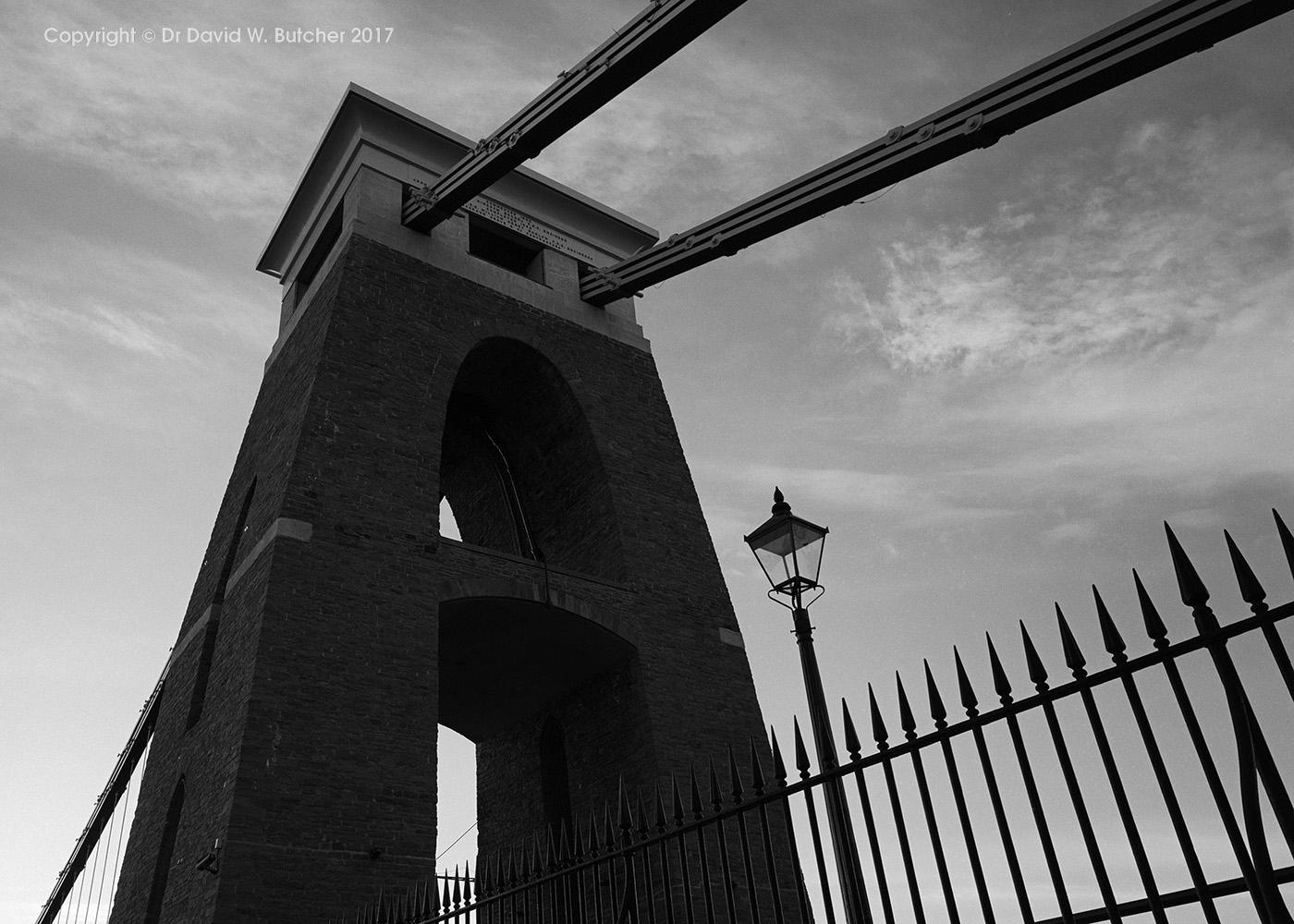 Bristol Clifton Suspension Bridge Tower at Dusk, England