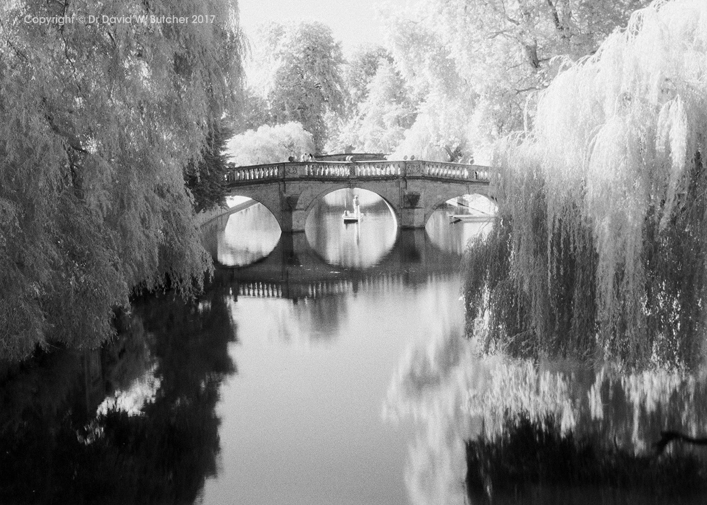 Cambridge Clare College Bridge and River Cam Reflections, England