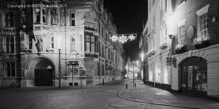 Cambridge Gonville and Caius College, Trinity Street at Night, England