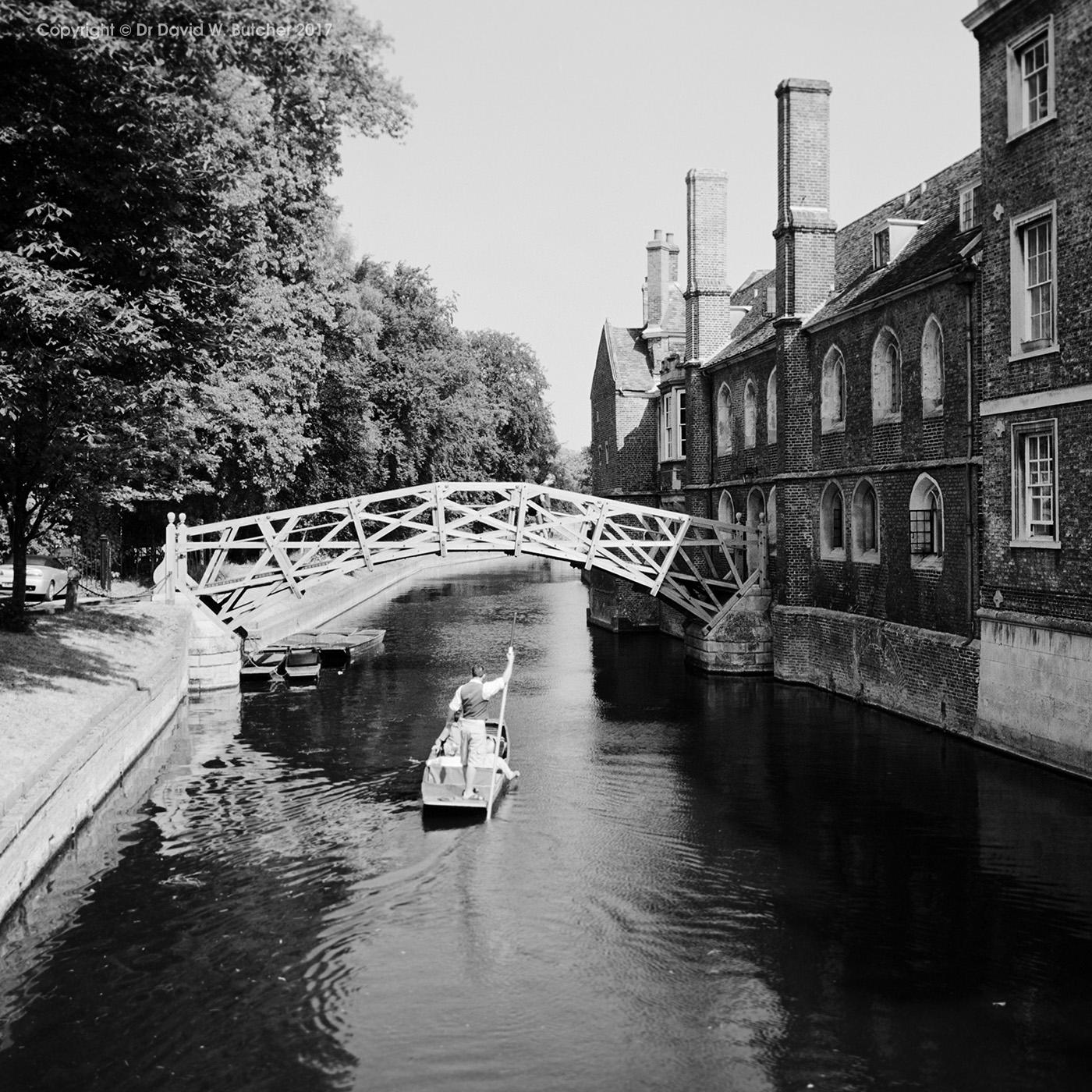 Cambridge Queens' College Mathematical Bridge and River Cam, England