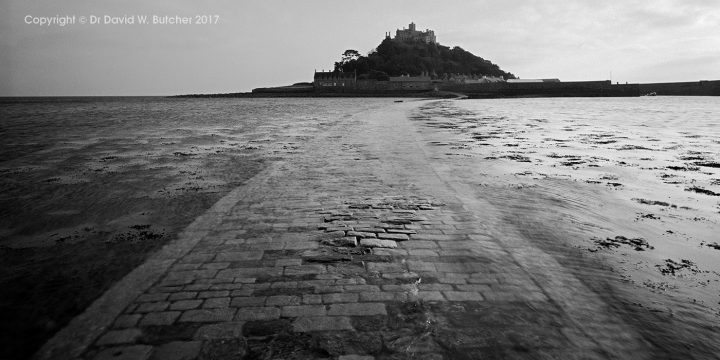St Michaels Mount from Causeway as Tide Comes In, Marazion, Cornwall, England