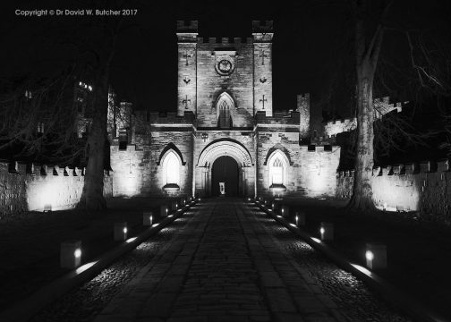 Durham Castle Entrance at Night, England