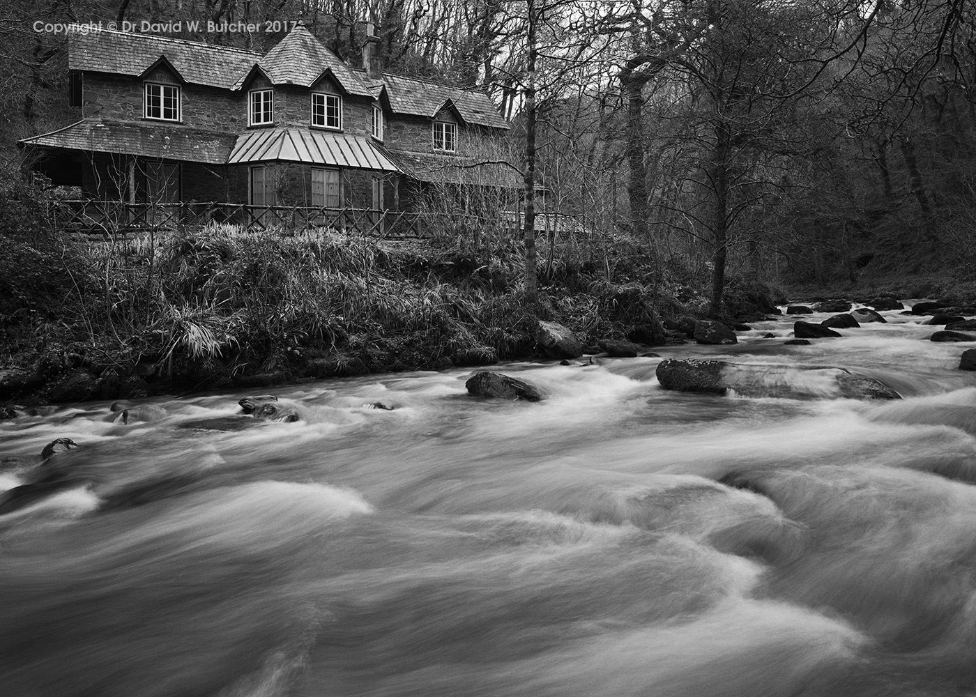 Watersmeet House and East Lyn River, Exmoor, Devon, England