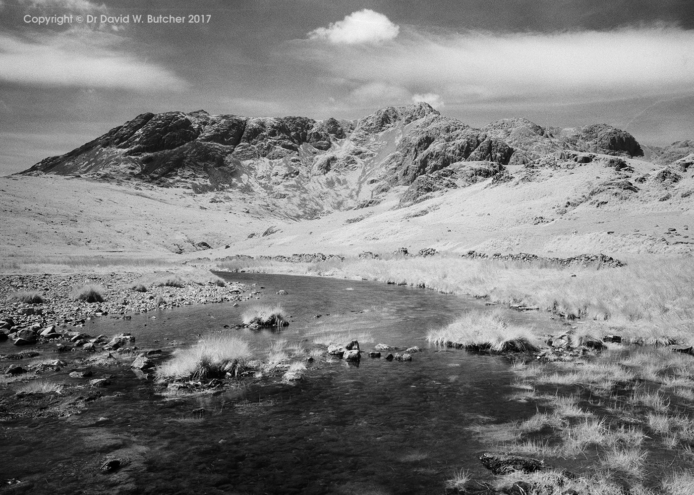 Scafell Pike and the River Esk, infrared, Boot, Eskdale, Lake District