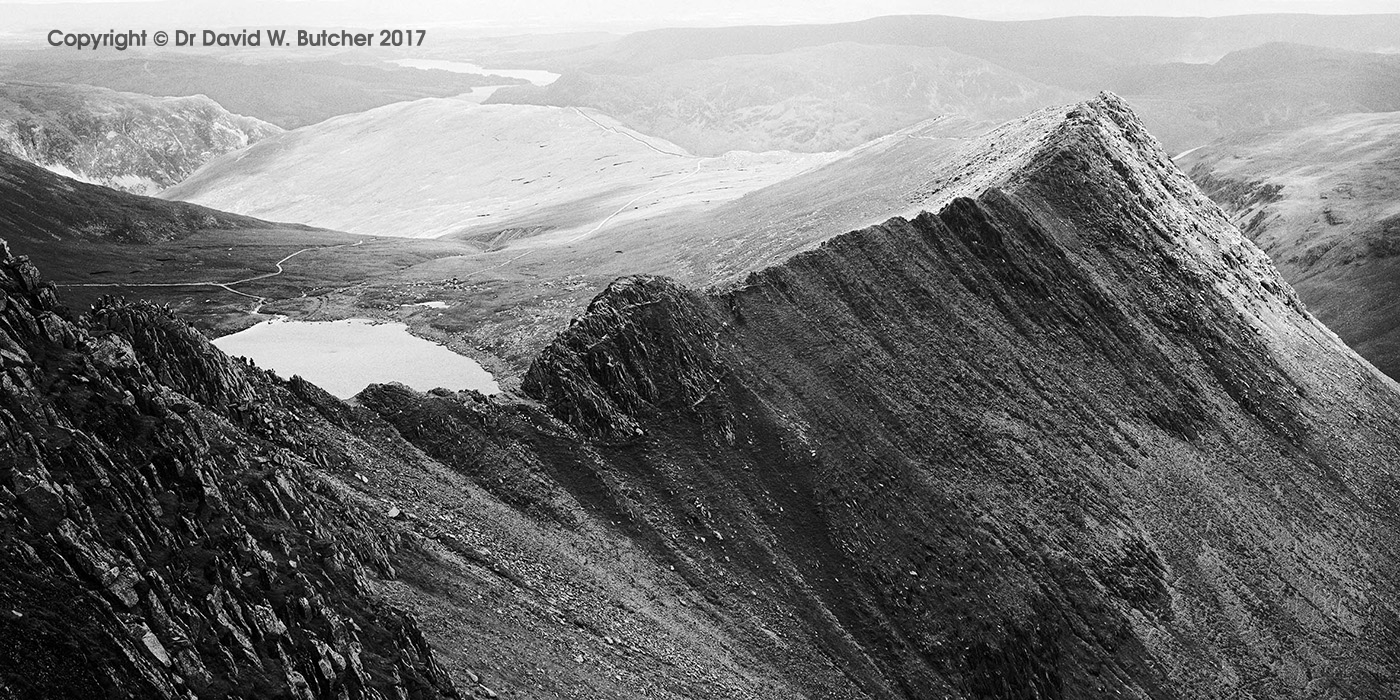 Helvellyn and Striding Edge from Lad Crag, Lake District