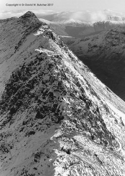 Helvellyn Striding Edge in Winter, Lake District