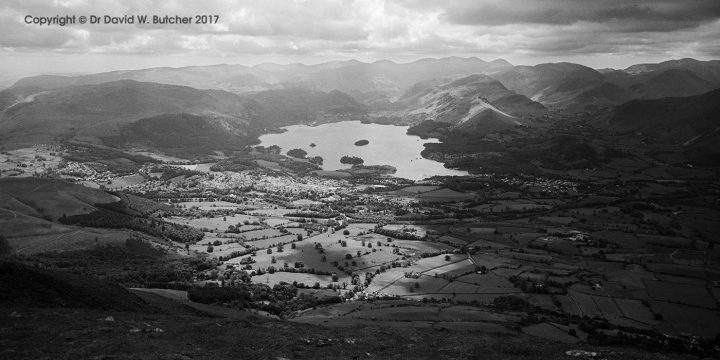 Keswick and Derwent Water from Skiddaw, Lake District