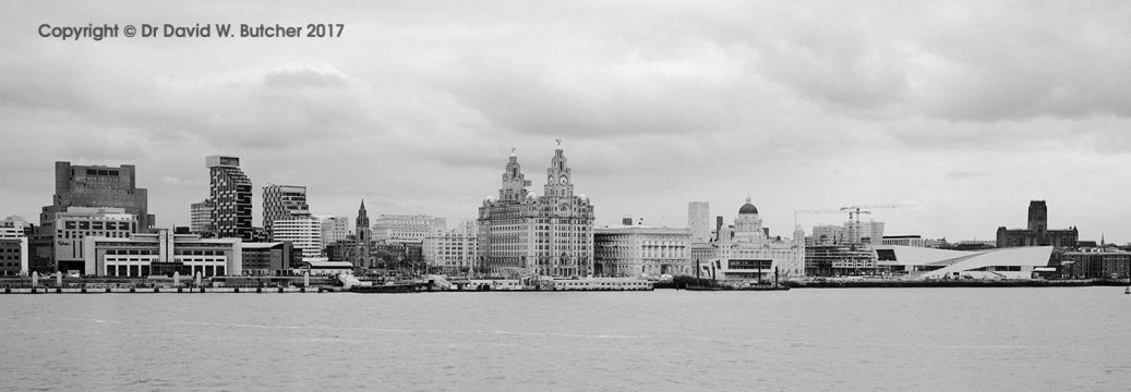 Liverpool Skyline from ferry near Birkenhead, England