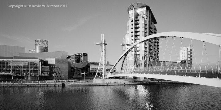 Salford Quays Millennium Bridge and the Lowry, England