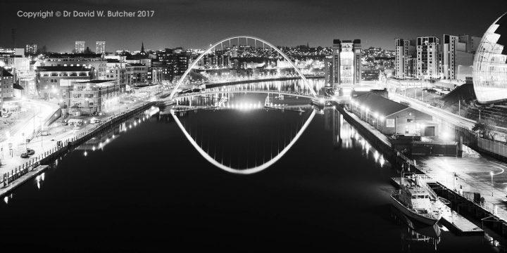 Gateshead Millennium Bridge Reflections at Night from Newcastle Tyne Bridge