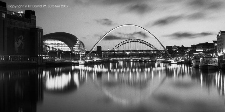 Newcastle River Tyne, Sage and Millennium Bridge at Night