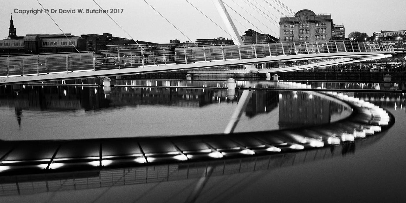 Gateshead Millennium Bridge at Dusk and Newcastle