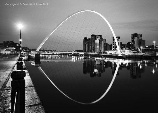 Gateshead Millennium Bridge Reflections at Night from Newcastle
