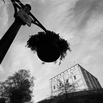 Norwich Castle and Hanging basket, Norfolk