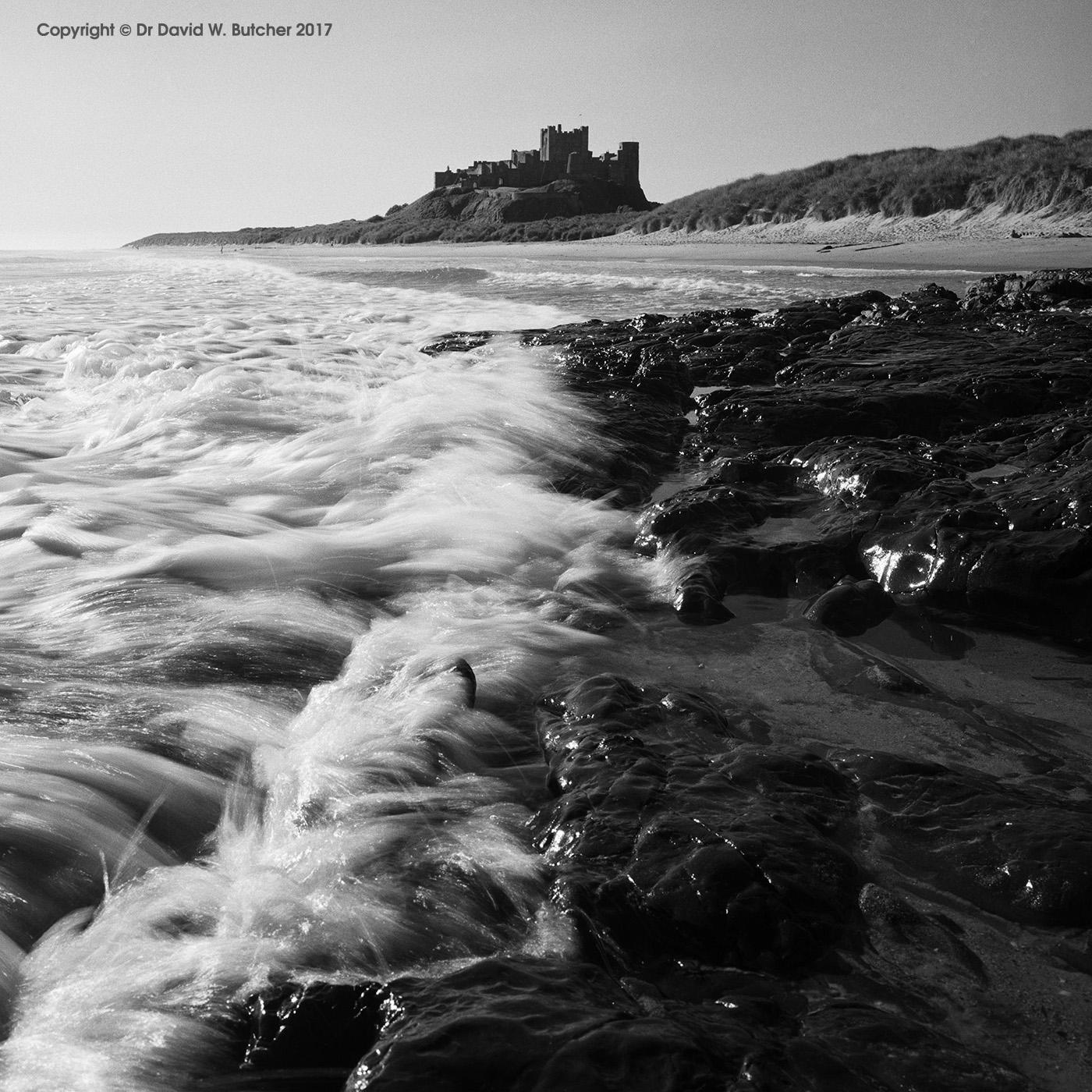 Bamburgh Castle and Waves, Northumberland