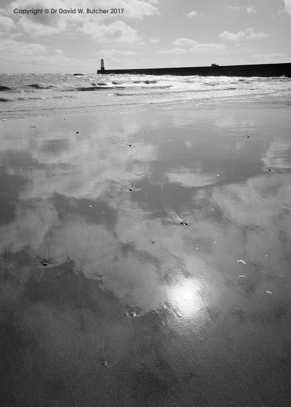 Berwick Beach Reflections and Lighthouse, Northumberland