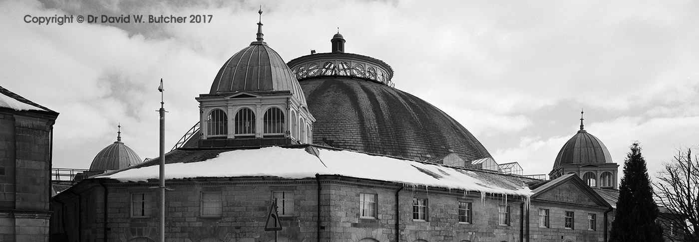 Buxton Devonshire Dome in Winter from Long Hill, Panoramic, Peak District