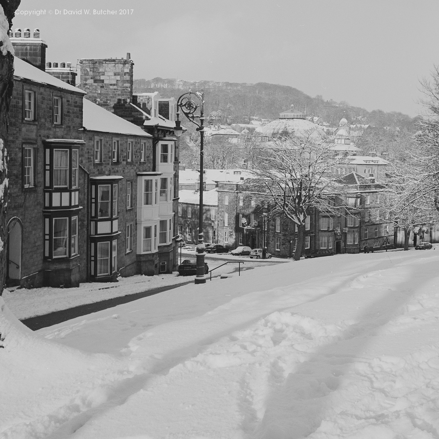 Buxton Hall Bank in Snow, Peak District