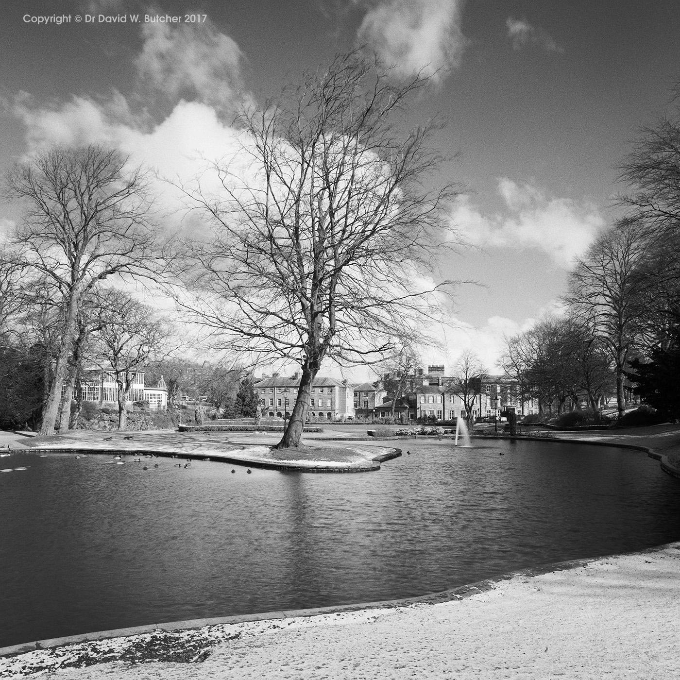 Buxton Pavilion Gardens Fountain Lake in Winter, Peak District
