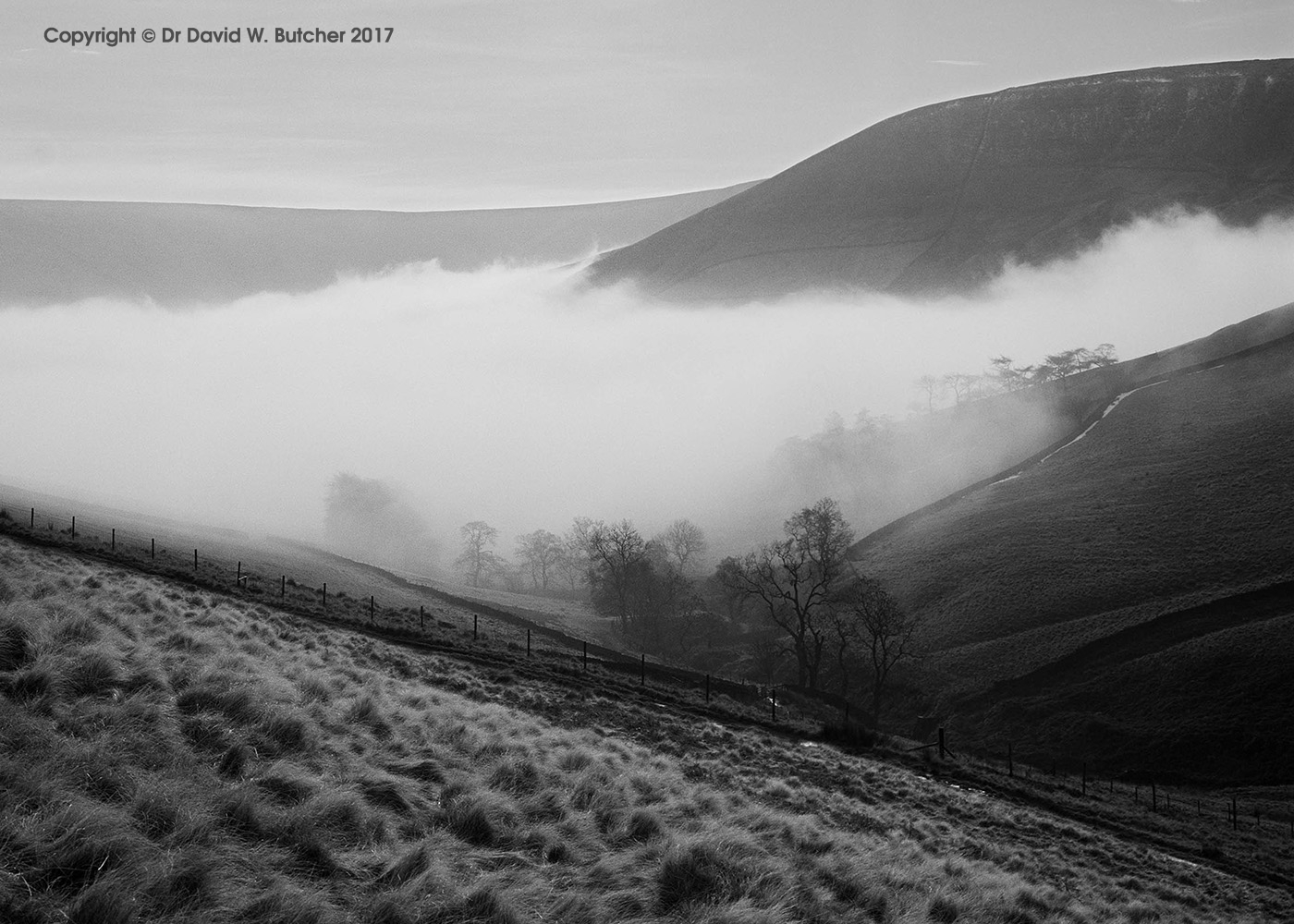 Clouds in the Valley, Crowden Brook, Edale, Kinderscout, Peak District