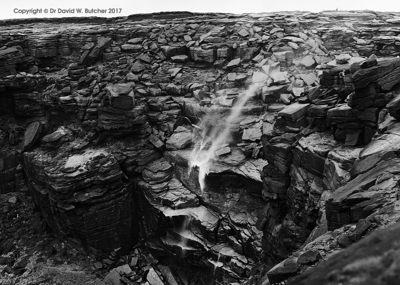 Kinder Downfall, Windy Day, Kinderscout, Hayfield, Peak District