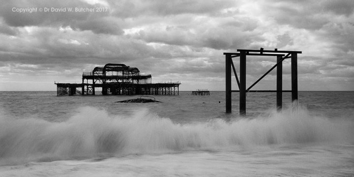 Brighton West Pier and Waves, Sussex, England