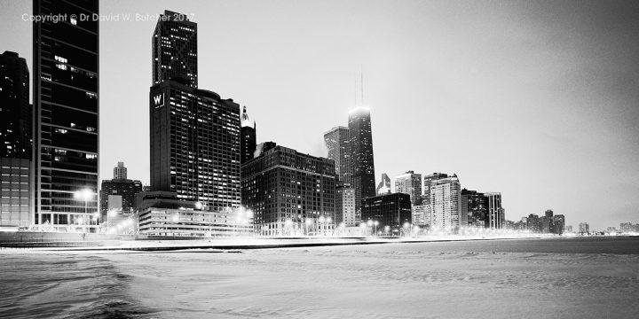 Chicago Skyline from Lake Michigan Beach in Winter, USA