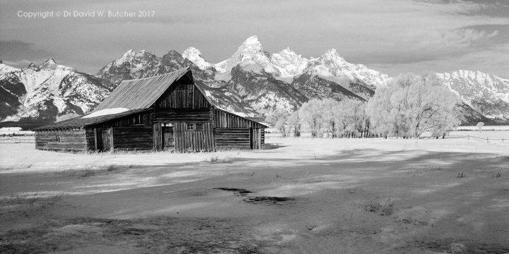 Moulton Barn, Mormon Row, Grand Tetons in Winter, Jackson, Wyoming, USA