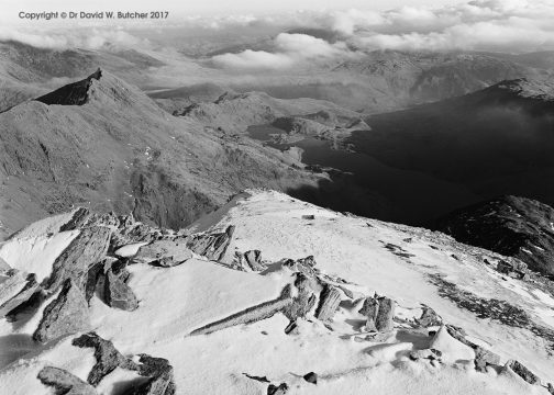 Snowdon Summit Looking East Beyond Crib Goch, Snowdonia, Wales