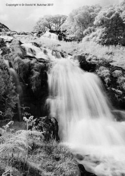 Watkin Path Waterfalls, Snowdon infrared, Snowdonia, Wales