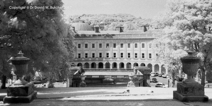 Buxton Crescent from the War Memorial, IR, Peak District