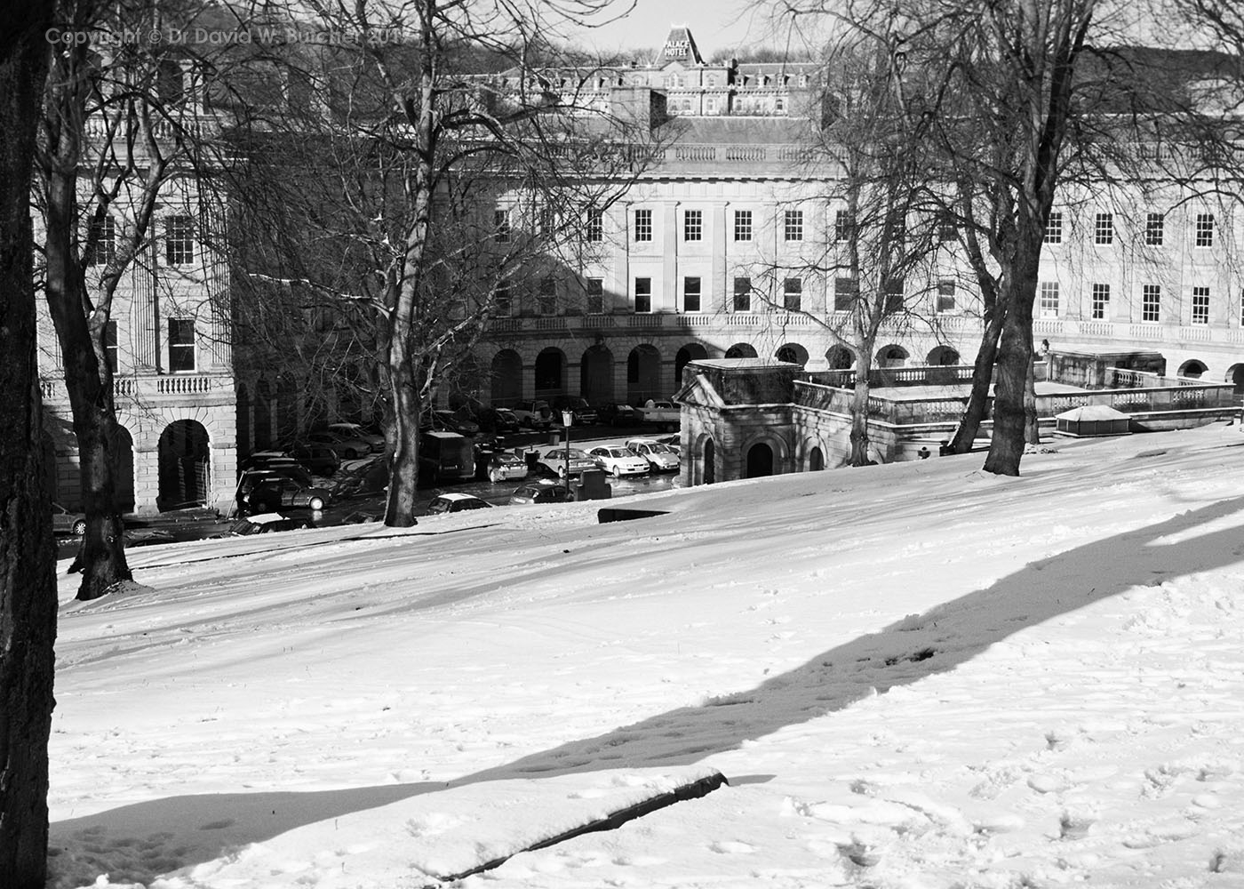 Buxton Crescent from the Slopes in Snow, Peak District