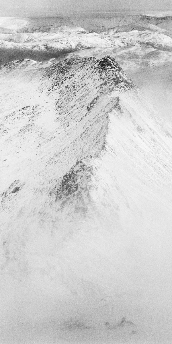 Helvellyn Striding Edge Cloudy View in Winter, Lake District