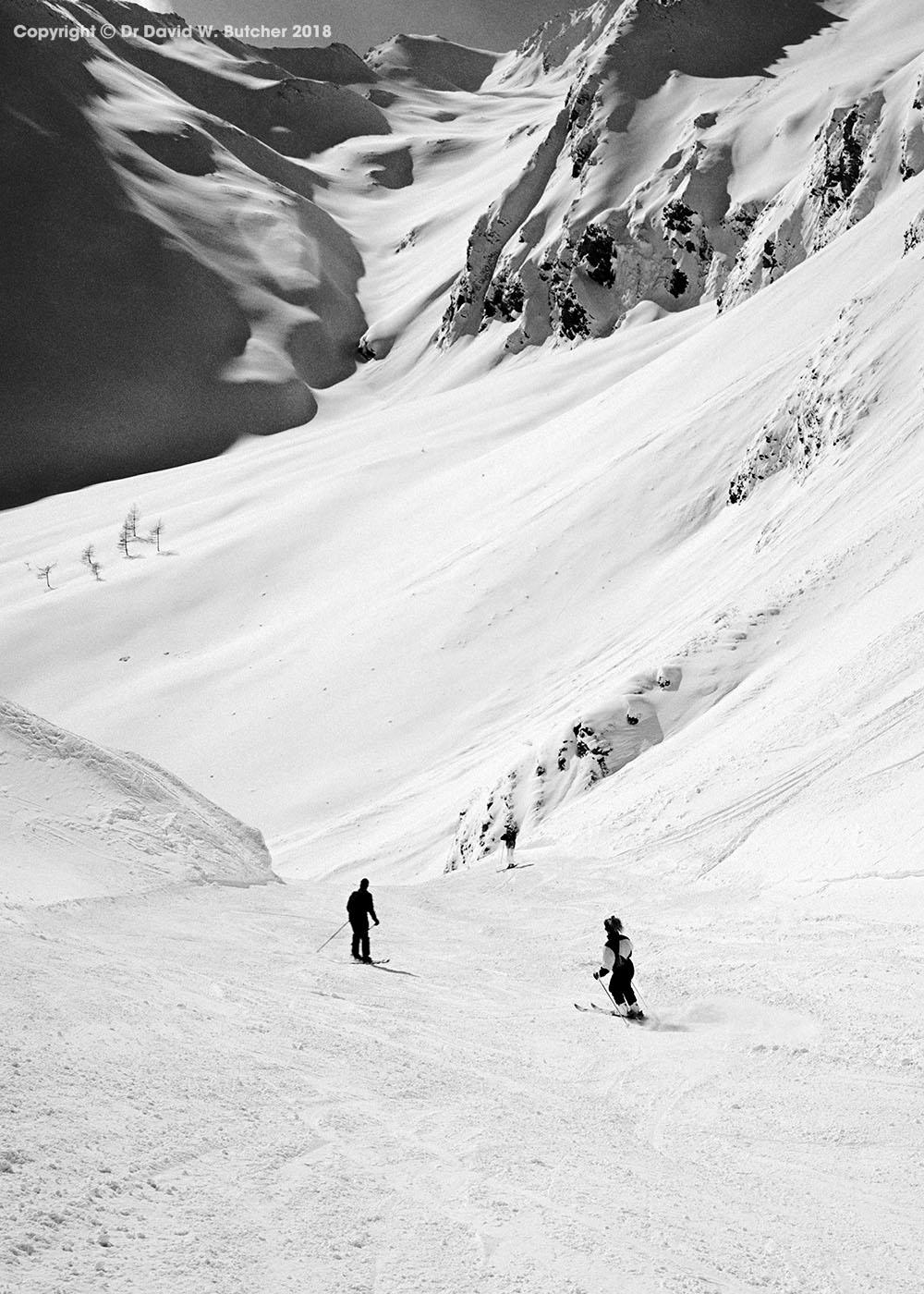 Ski run from Ischgl in the Austrian Tyrol to Samnaun in Switzerland by Dave Butcher