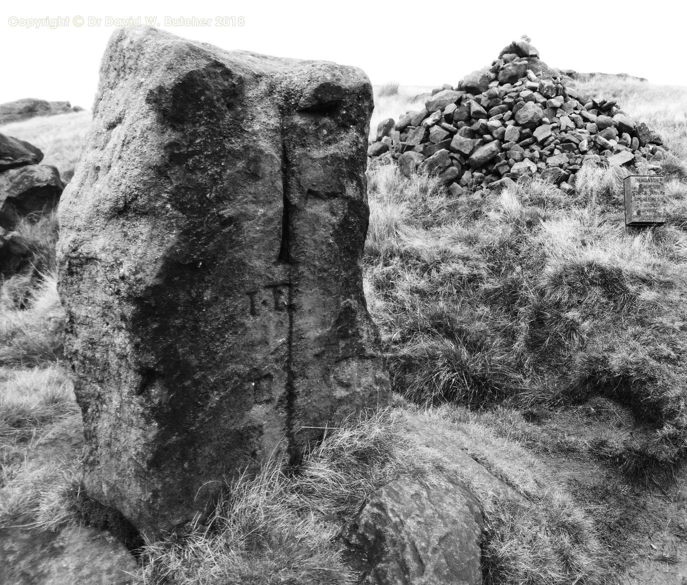 Aiggin Stone mediaeval guide stone for travellers on Blackstone Edge on Pennine Way