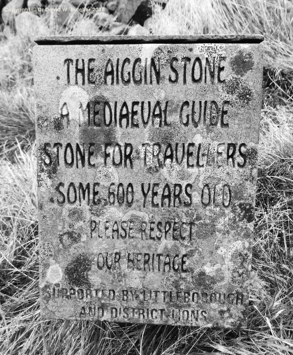 Aiggin Stone information sign on Blackstone Edge on Pennine Way