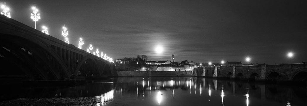Berwick Bridge and Moon reflections, Northumberland