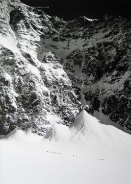 Skiing Below Allalinhorn South Face, Saas Fee, Switzerland