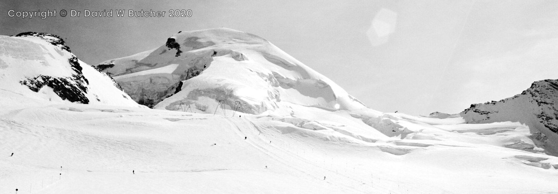 Saas Fee, Allalinhorn from Saas Fee Ski Area, Switzerland