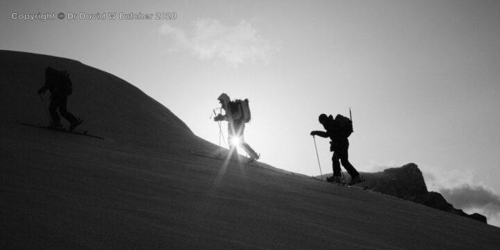 Sion, Skiing up Arpelistock Ridge, Switzerland