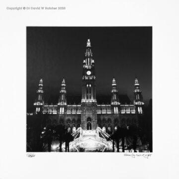 Austria, Vienna City Hall at Night by Dave Butcher
