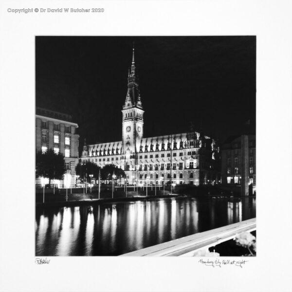 Germany Hamburg City Hall Reflections at Night by Dave Butcher