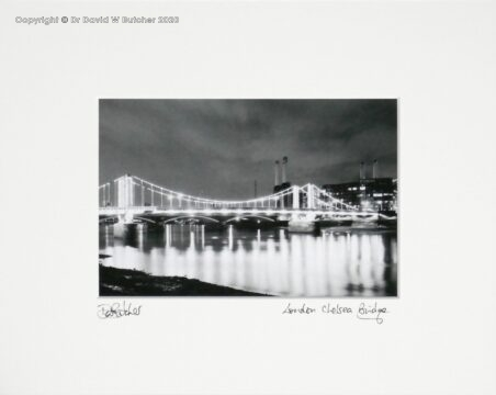 London Chelsea Bridge and Battersea Power Station at Night by Dave Butcher