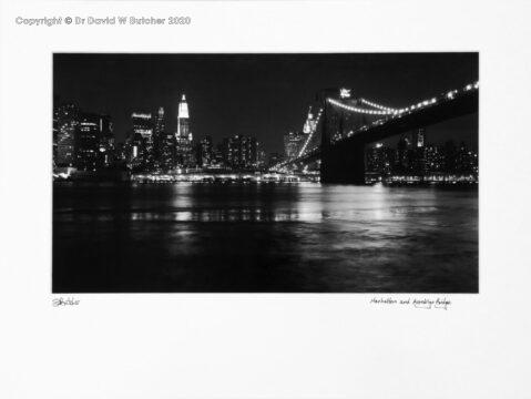 USA, New York Manhattan and Brooklyn Bridge at Night