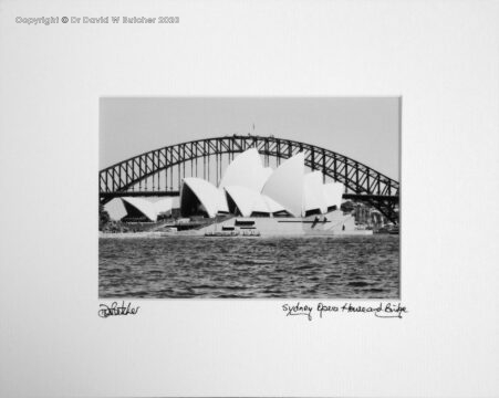 Australia, Sydney Opera House and Harbour Bridge from Mrs Macquarie Point