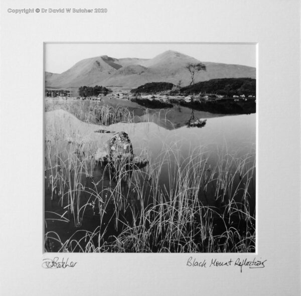 Scotland, Rannoch Moor Black Mount Reflections in Lochan na h-Achlaise between Bridge of Orchy and Glen Coe.